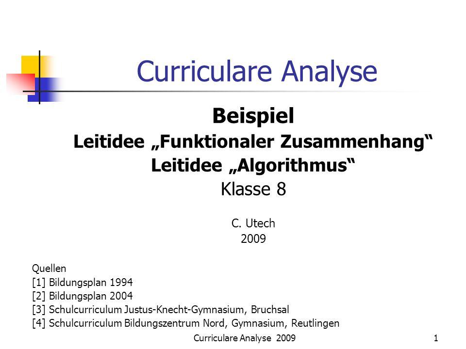 Curriculare Analyse 20091 Curriculare Analyse Beispiel Leitidee Funktionaler Zusammenhang Leitidee Algorithmus Klasse 8 C. Utech 2009 Quellen [1] Bild