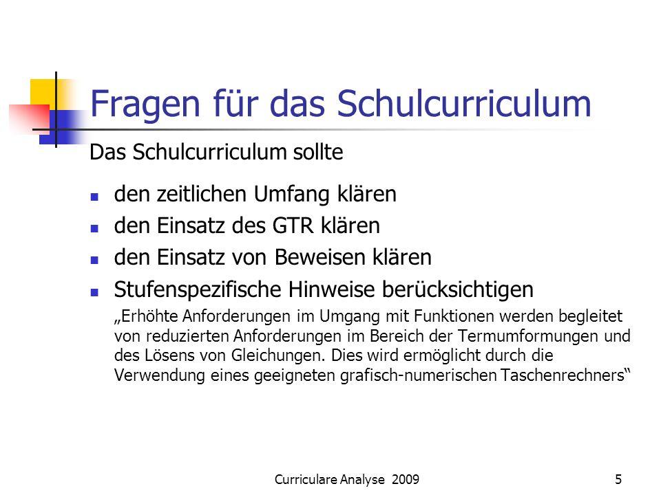 Curriculare Analyse 20095 Fragen für das Schulcurriculum Das Schulcurriculum sollte den zeitlichen Umfang klären den Einsatz des GTR klären den Einsat