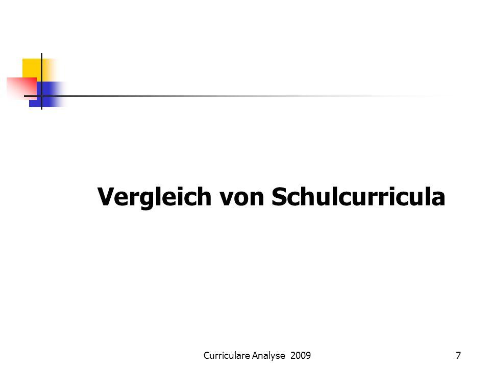 Curriculare Analyse 20097 Vergleich von Schulcurricula