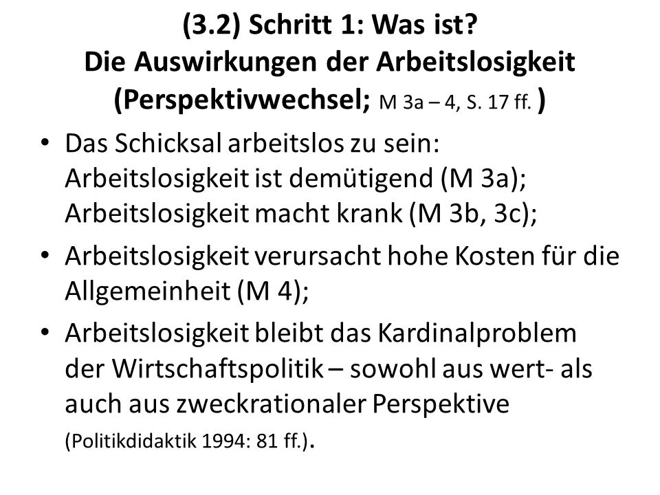 (3.2) Schritt 1: Was ist? Die Auswirkungen der Arbeitslosigkeit (Perspektivwechsel; M 3a – 4, S. 17 ff. ) Das Schicksal arbeitslos zu sein: Arbeitslos