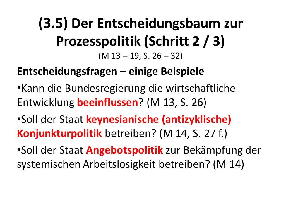 (3.5) Der Entscheidungsbaum zur Prozesspolitik (Schritt 2 / 3) (M 13 – 19, S. 26 – 32) Entscheidungsfragen – einige Beispiele Kann die Bundesregierung