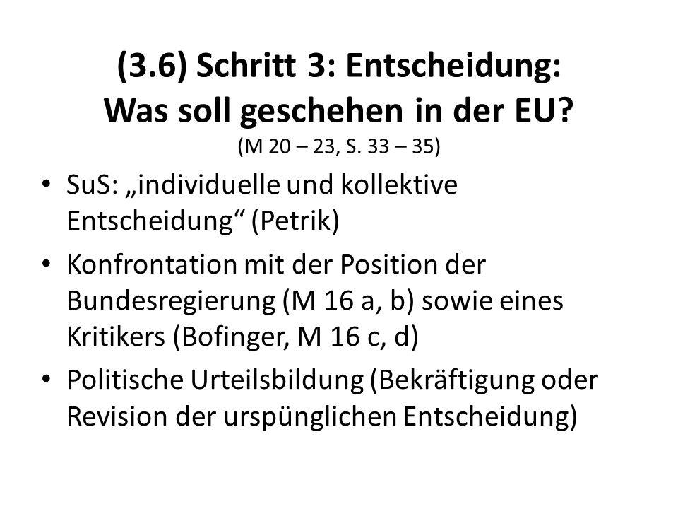 (3.6) Schritt 3: Entscheidung: Was soll geschehen in der EU? (M 20 – 23, S. 33 – 35) SuS: individuelle und kollektive Entscheidung (Petrik) Konfrontat