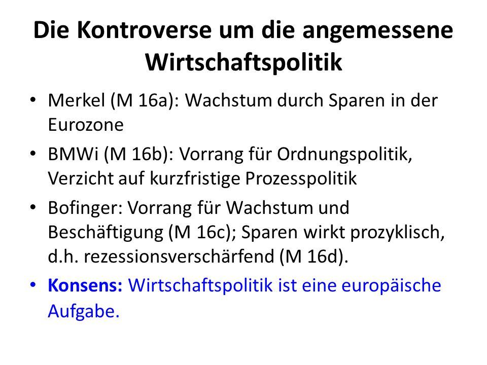 Die Kontroverse um die angemessene Wirtschaftspolitik Merkel (M 16a): Wachstum durch Sparen in der Eurozone BMWi (M 16b): Vorrang für Ordnungspolitik,