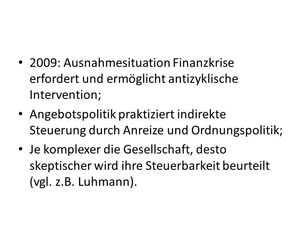 2009: Ausnahmesituation Finanzkrise erfordert und ermöglicht antizyklische Intervention; Angebotspolitik praktiziert indirekte Steuerung durch Anreize