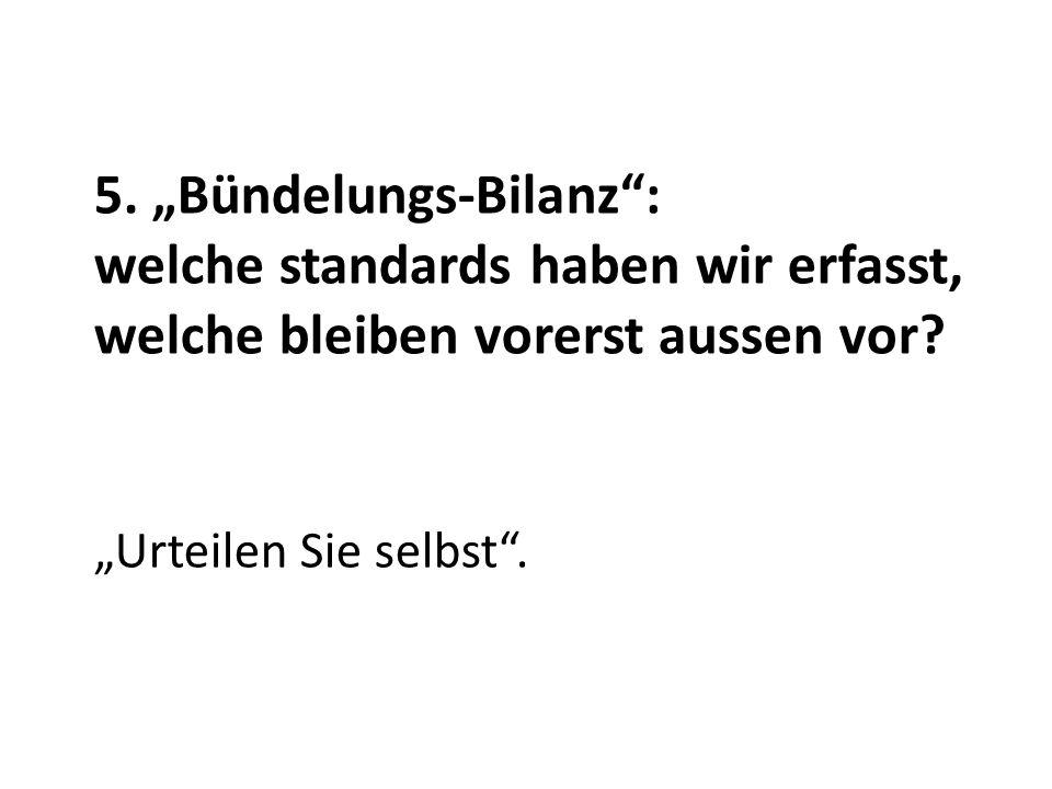5. Bündelungs-Bilanz: welche standards haben wir erfasst, welche bleiben vorerst aussen vor? Urteilen Sie selbst.