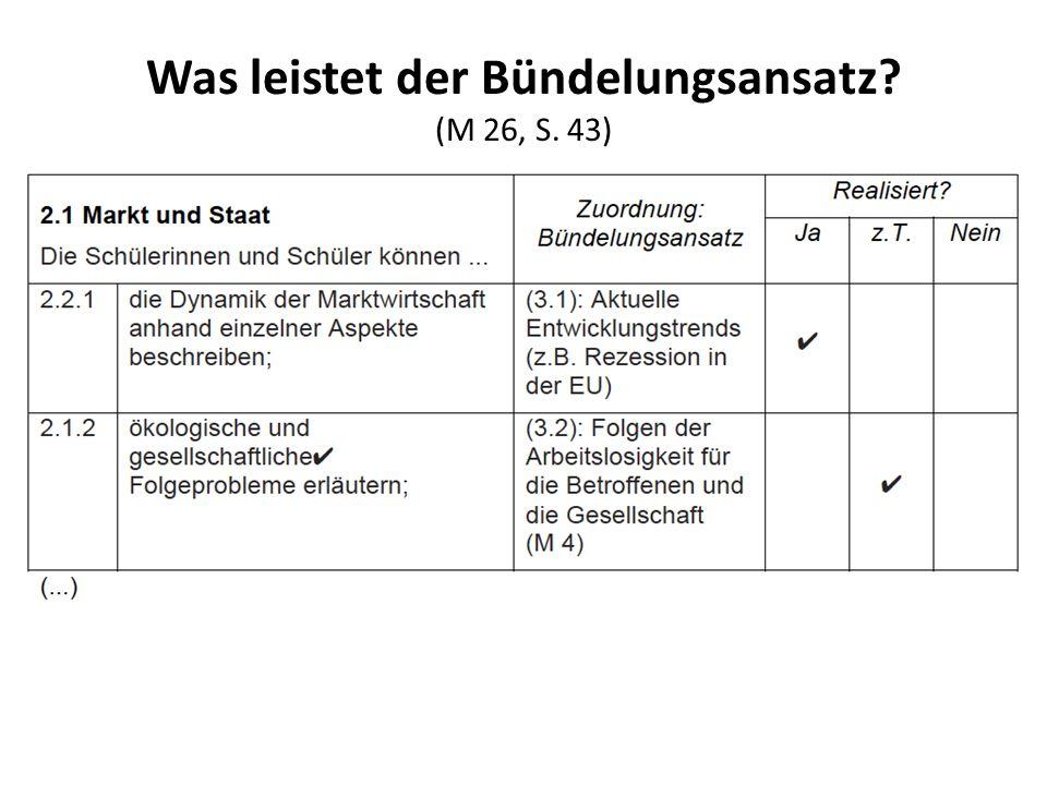 Was leistet der Bündelungsansatz? (M 26, S. 43)