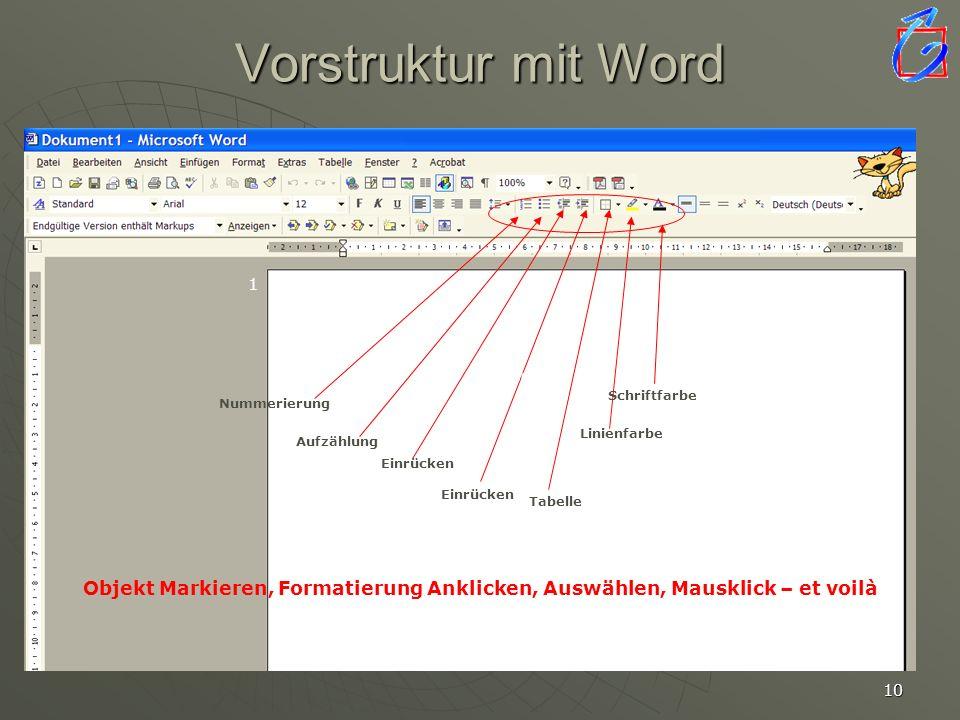 9 Sammeln mit Word ListenListen TabellenTabellen Grafische ElementeGrafische Elemente HyperlinksHyperlinks