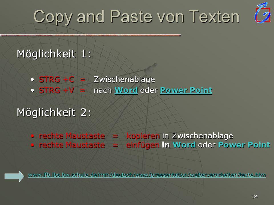 33 Hyperlinks setzen zu Texten, Grafiken, anderen Dateien... Textstelle oder Objekt markieren mit der linken Maustaste auf das Hyperlinkzeichen Zielob