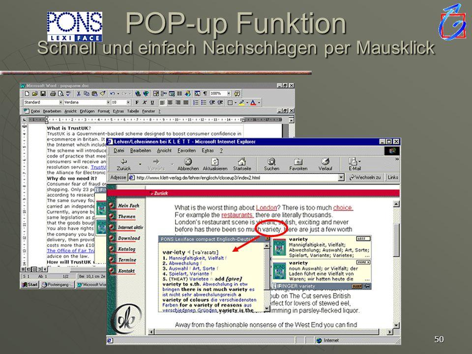 49 Lexiface Pop-up Funktion im Text Nachschlagen mit einem Klick einfache Bedienung mit vielfältigen Suchmöglichkeiten mit Sprachausgabe für die wicht