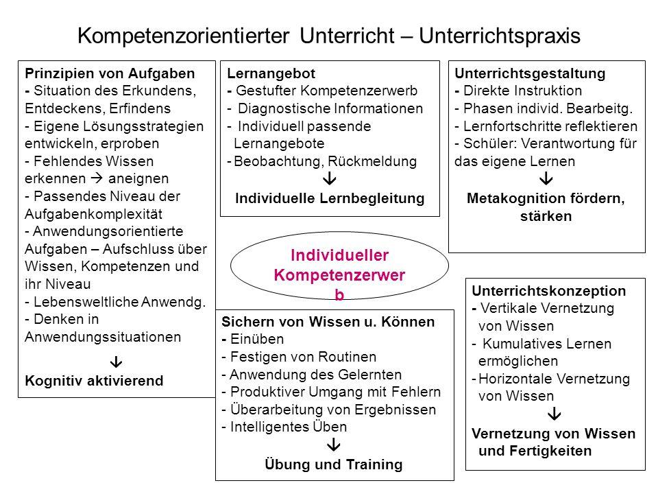 22 Kompetenzorientierter Unterricht – Unterrichtspraxis Individueller Kompetenzerwer b Lernangebot - Gestufter Kompetenzerwerb - Diagnostische Informa