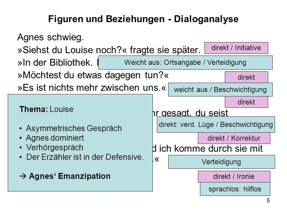 5 Figuren und Beziehungen - Dialoganalyse Agnes schwieg. »Siehst du Louise noch?« fragte sie später. »In der Bibliothek. Ich kann nichts dagegen tun.«