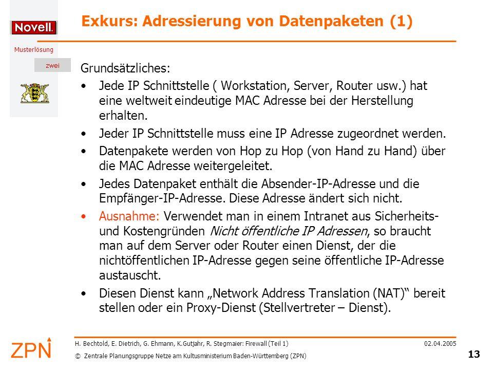 © Zentrale Planungsgruppe Netze am Kultusministerium Baden-Württemberg (ZPN) Musterlösung 02.04.2005 14 H.