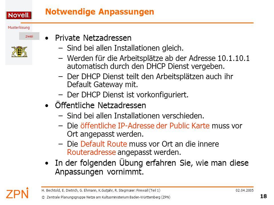 © Zentrale Planungsgruppe Netze am Kultusministerium Baden-Württemberg (ZPN) Musterlösung 02.04.2005 19 H.