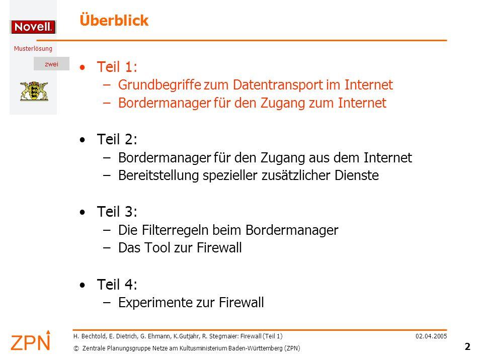 © Zentrale Planungsgruppe Netze am Kultusministerium Baden-Württemberg (ZPN) Musterlösung 02.04.2005 3 H.
