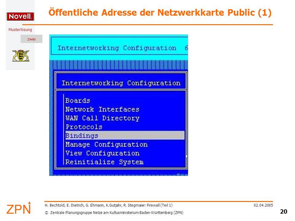 © Zentrale Planungsgruppe Netze am Kultusministerium Baden-Württemberg (ZPN) Musterlösung 02.04.2005 21 H.