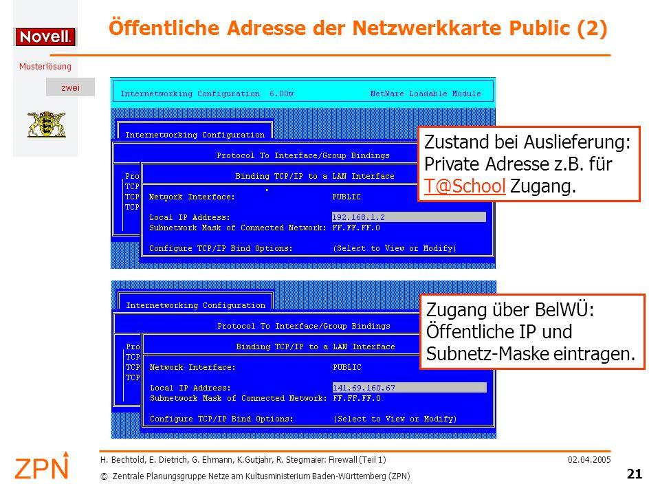 © Zentrale Planungsgruppe Netze am Kultusministerium Baden-Württemberg (ZPN) Musterlösung 02.04.2005 22 H.