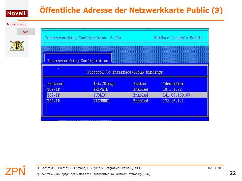 © Zentrale Planungsgruppe Netze am Kultusministerium Baden-Württemberg (ZPN) Musterlösung 02.04.2005 23 H.