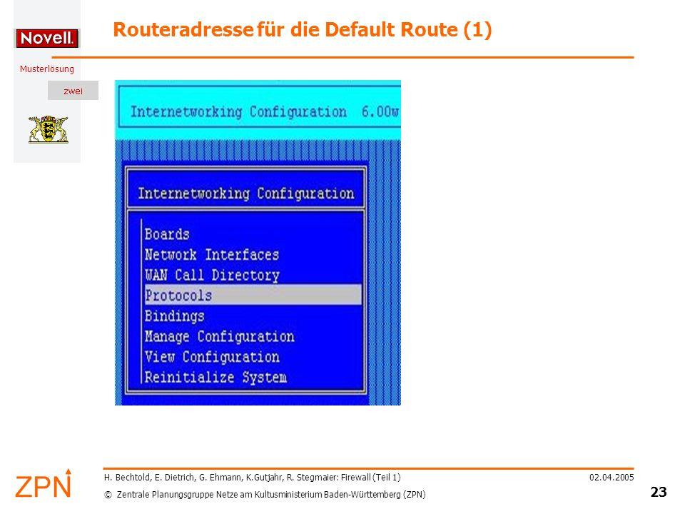 © Zentrale Planungsgruppe Netze am Kultusministerium Baden-Württemberg (ZPN) Musterlösung 02.04.2005 24 H.