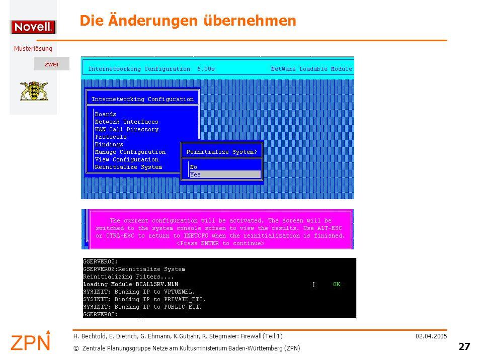 © Zentrale Planungsgruppe Netze am Kultusministerium Baden-Württemberg (ZPN) Musterlösung 02.04.2005 28 H.