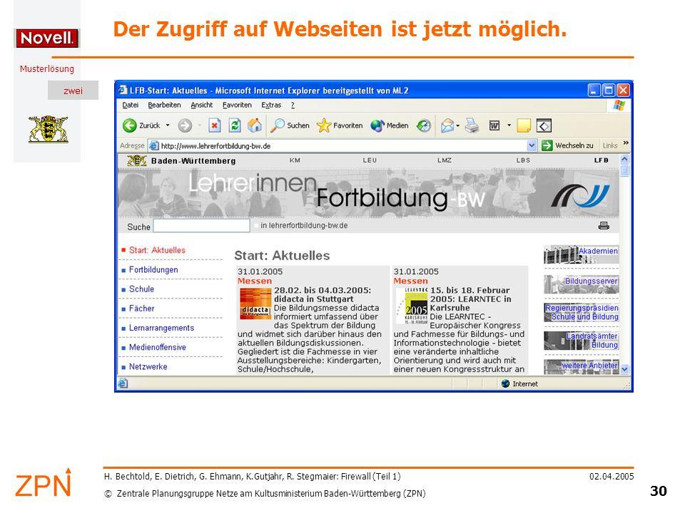 © Zentrale Planungsgruppe Netze am Kultusministerium Baden-Württemberg (ZPN) Musterlösung 02.04.2005 30 H. Bechtold, E. Dietrich, G. Ehmann, K.Gutjahr