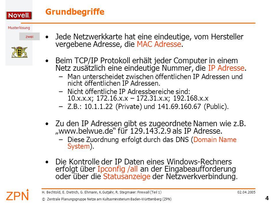 © Zentrale Planungsgruppe Netze am Kultusministerium Baden-Württemberg (ZPN) Musterlösung 02.04.2005 5 H.