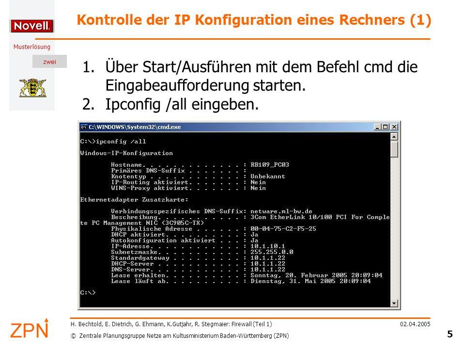 © Zentrale Planungsgruppe Netze am Kultusministerium Baden-Württemberg (ZPN) Musterlösung 02.04.2005 6 H.