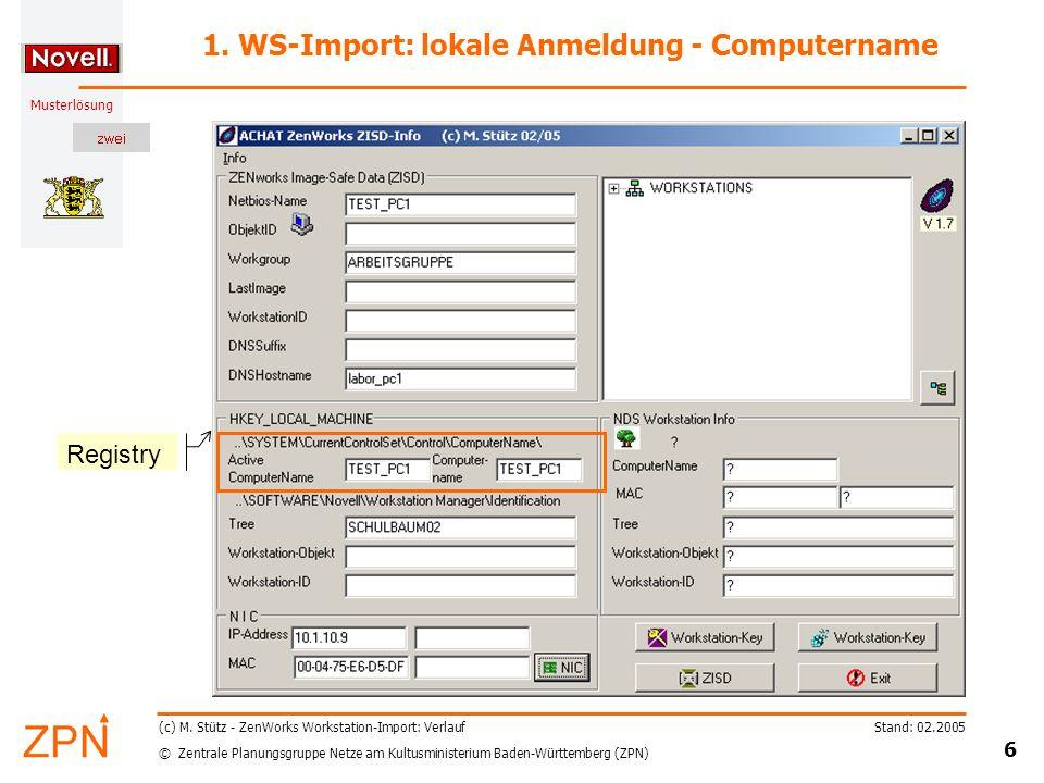 © Zentrale Planungsgruppe Netze am Kultusministerium Baden-Württemberg (ZPN) Musterlösung Stand: 02.2005 6 (c) M.