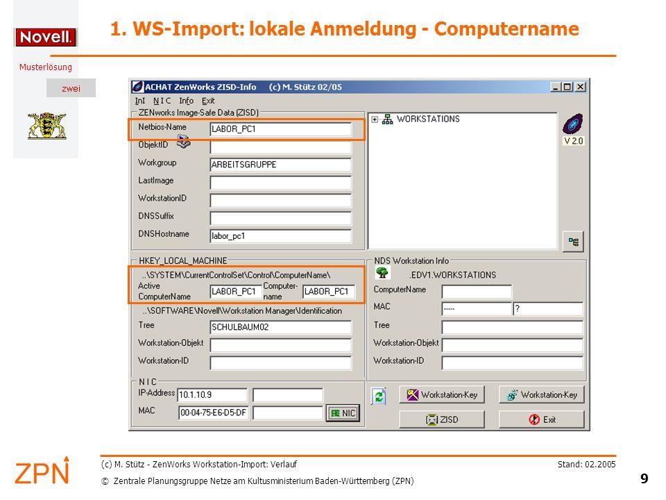 © Zentrale Planungsgruppe Netze am Kultusministerium Baden-Württemberg (ZPN) Musterlösung Stand: 02.2005 9 (c) M.