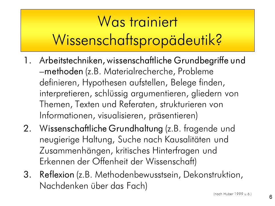 6 Was trainiert Wissenschaftspropädeutik? 1.Arbeitstechniken, wissenschaftliche Grundbegriffe und –methoden (z.B. Materialrecherche, Probleme definier