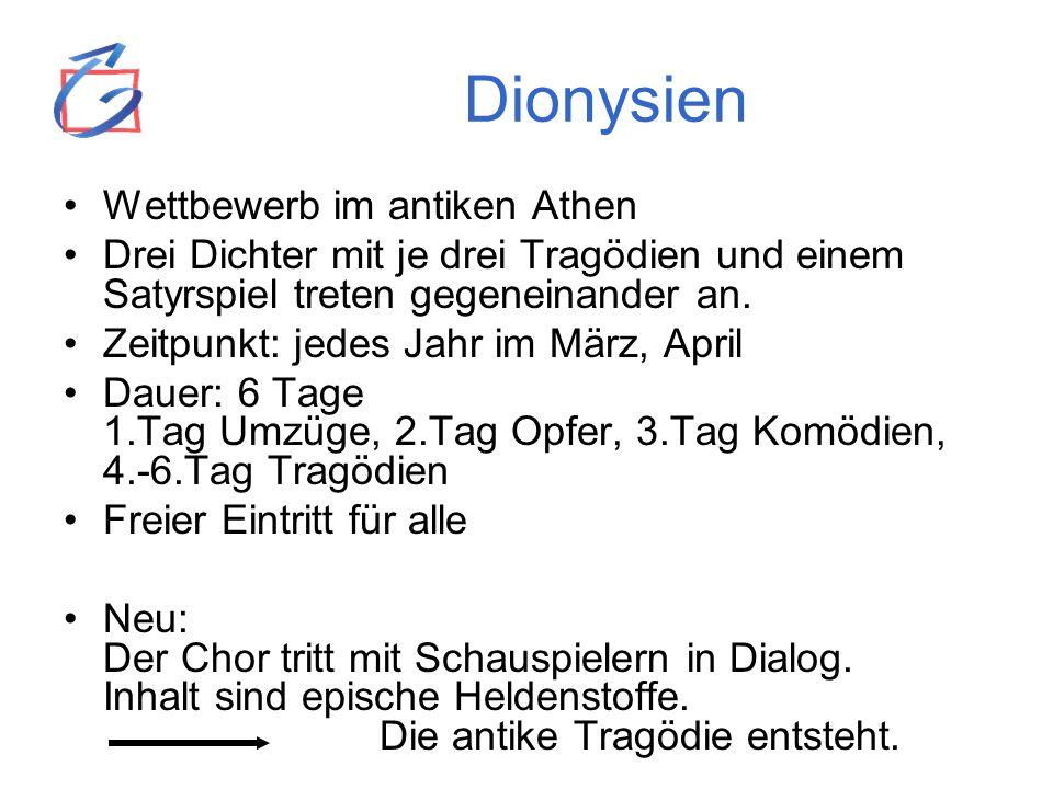 Dionysien Wettbewerb im antiken Athen Drei Dichter mit je drei Tragödien und einem Satyrspiel treten gegeneinander an. Zeitpunkt: jedes Jahr im März,