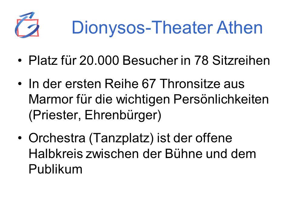 Dionysos-Theater Athen Platz für 20.000 Besucher in 78 Sitzreihen In der ersten Reihe 67 Thronsitze aus Marmor für die wichtigen Persönlichkeiten (Pri