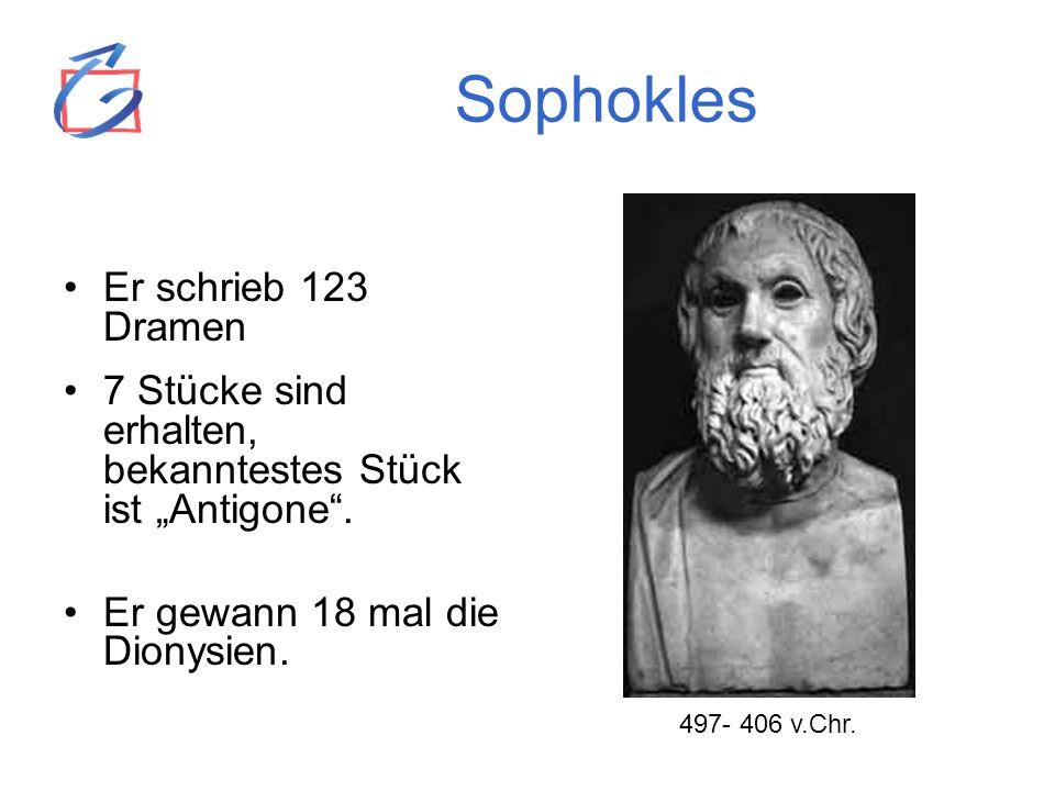 Sophokles Er schrieb 123 Dramen 7 Stücke sind erhalten, bekanntestes Stück ist Antigone. Er gewann 18 mal die Dionysien. 497- 406 v.Chr.