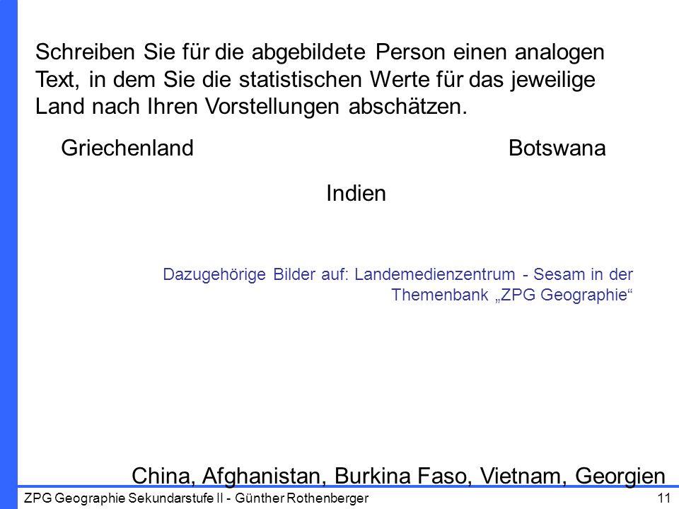ZPG Geographie Sekundarstufe II - Günther Rothenberger11 China, Afghanistan, Burkina Faso, Vietnam, Georgien Schreiben Sie für die abgebildete Person