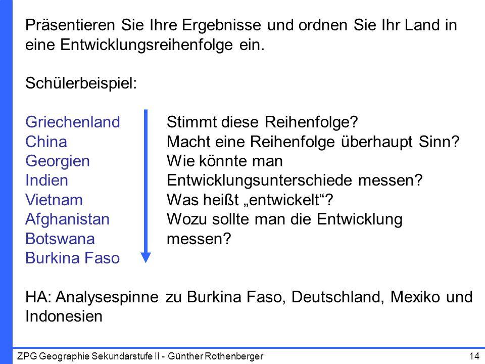 ZPG Geographie Sekundarstufe II - Günther Rothenberger14 Präsentieren Sie Ihre Ergebnisse und ordnen Sie Ihr Land in eine Entwicklungsreihenfolge ein.