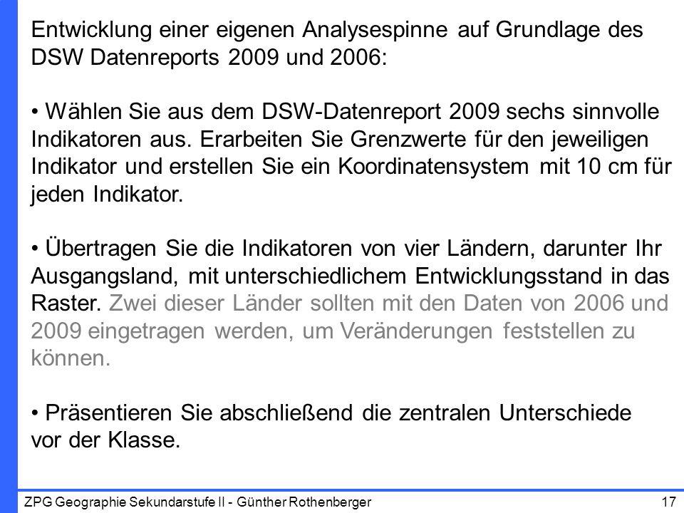 ZPG Geographie Sekundarstufe II - Günther Rothenberger17 Entwicklung einer eigenen Analysespinne auf Grundlage des DSW Datenreports 2009 und 2006: Wäh
