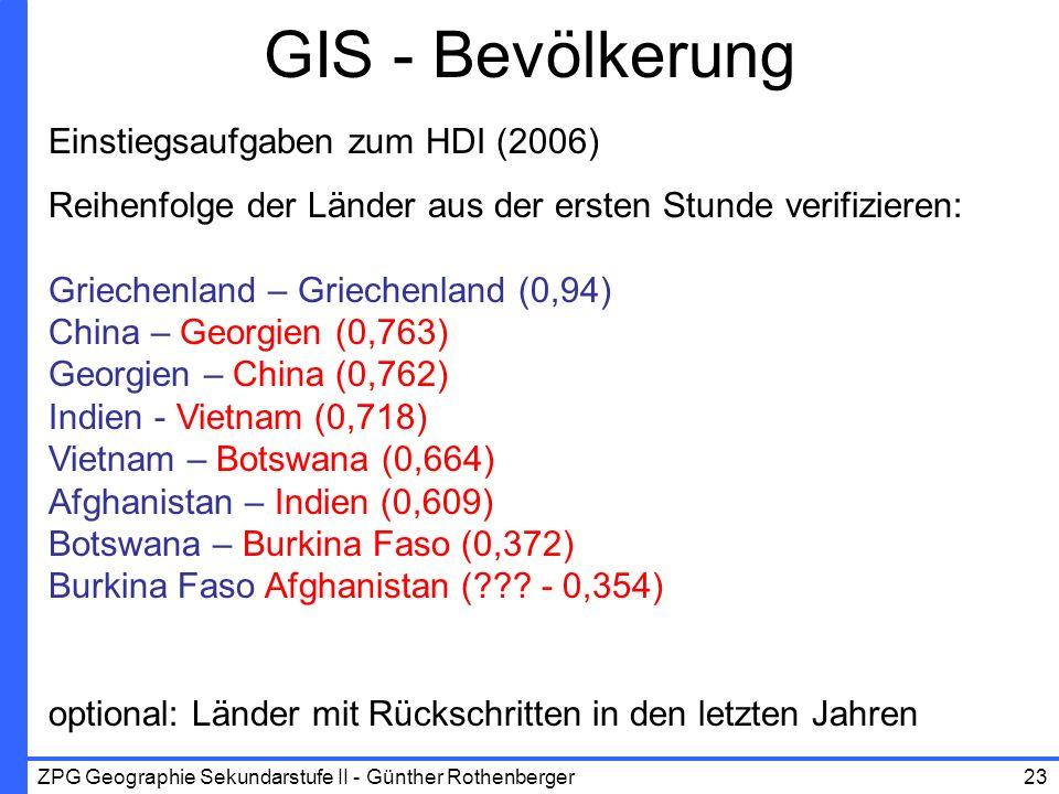 ZPG Geographie Sekundarstufe II - Günther Rothenberger23 GIS - Bevölkerung Einstiegsaufgaben zum HDI (2006) Reihenfolge der Länder aus der ersten Stun