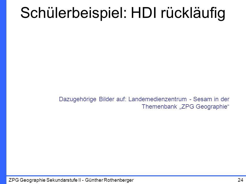 ZPG Geographie Sekundarstufe II - Günther Rothenberger24 Schülerbeispiel: HDI rückläufig Dazugehörige Bilder auf: Landemedienzentrum - Sesam in der Th