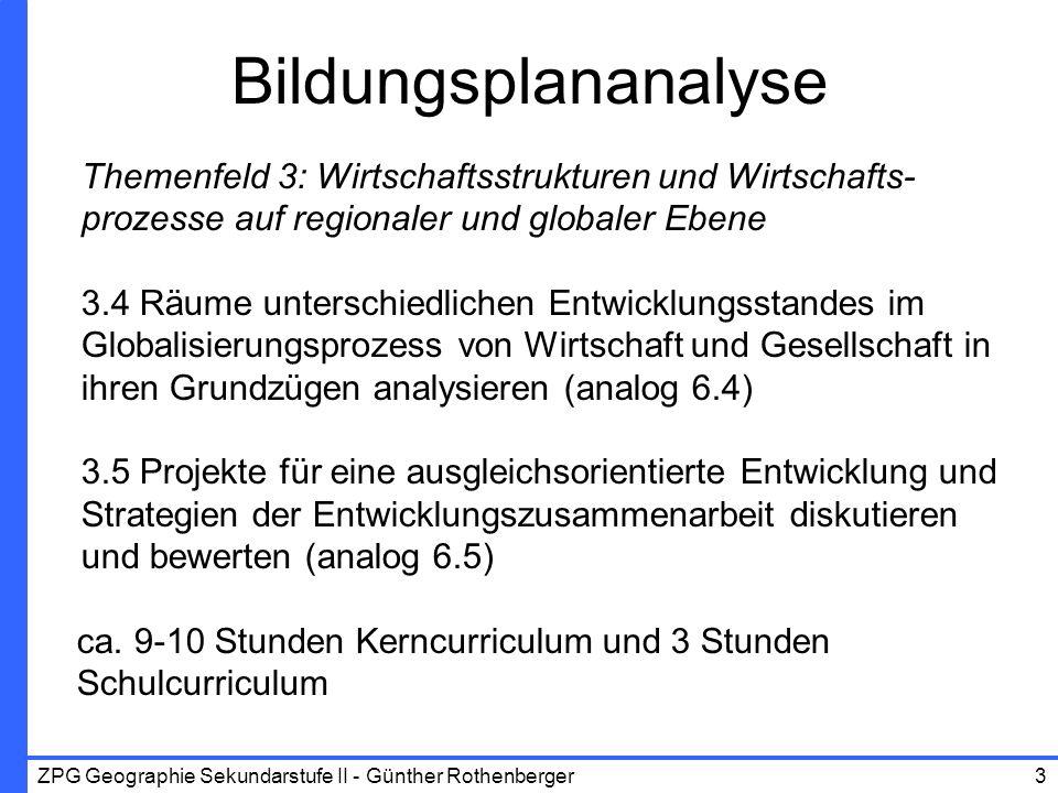 ZPG Geographie Sekundarstufe II - Günther Rothenberger4 12 Elemente SchülerorientierungProblemorientierung KonstruktionSelbstorganisation Prozess-/Zielorientierung Exemplarisches Lernen Methodenorientierung Individualisierung Performanz-/ Lernproduktorientierung Reflexionsorientierung Diagnose Differenzierung