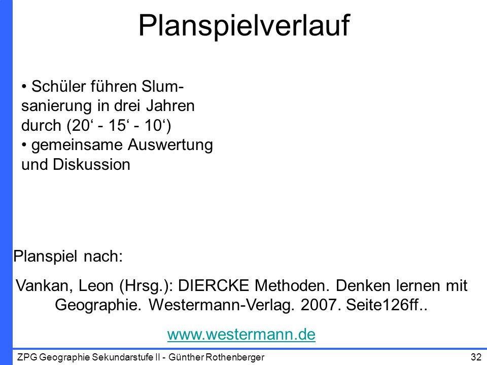 ZPG Geographie Sekundarstufe II - Günther Rothenberger32 Planspielverlauf Schüler führen Slum- sanierung in drei Jahren durch (20 - 15 - 10) gemeinsam