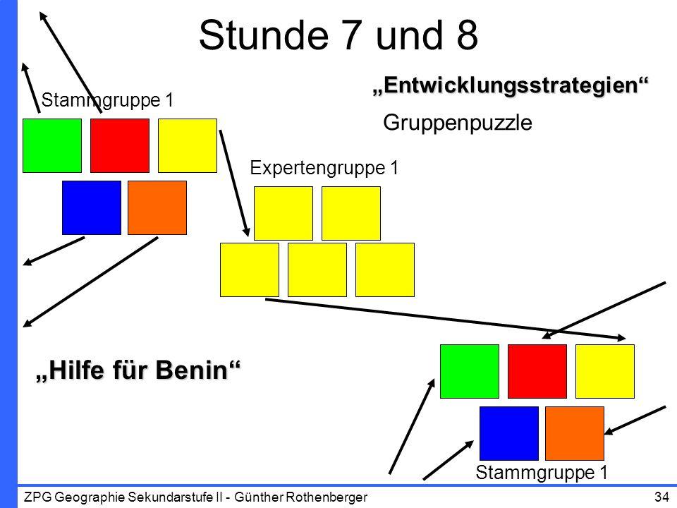 ZPG Geographie Sekundarstufe II - Günther Rothenberger34 Entwicklungsstrategien Gruppenpuzzle Stunde 7 und 8 Stammgruppe 1 Expertengruppe 1 Stammgrupp