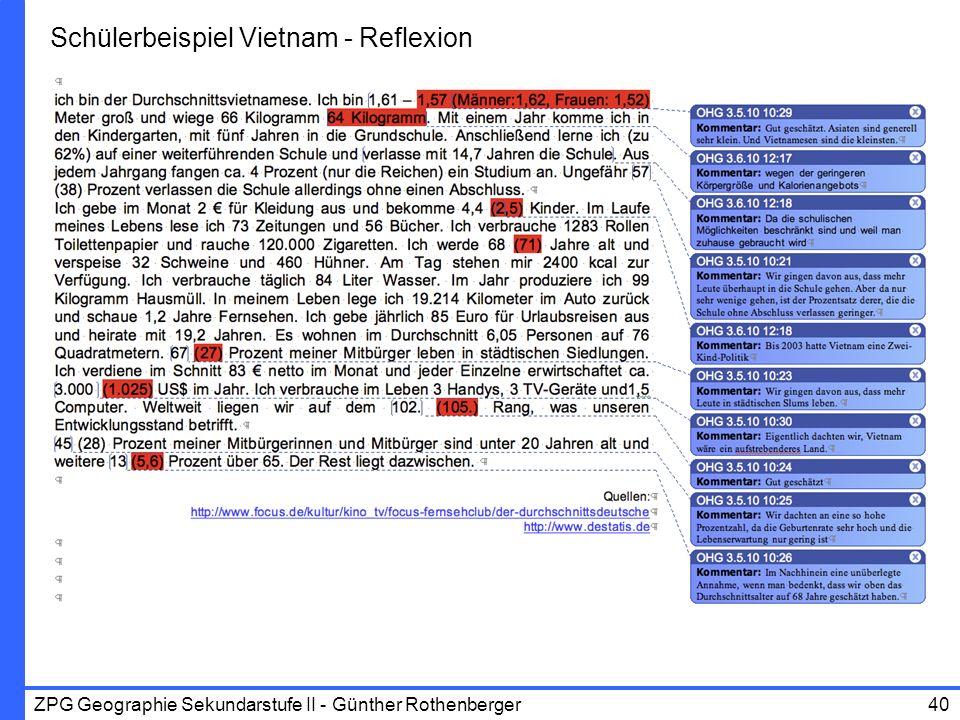 ZPG Geographie Sekundarstufe II - Günther Rothenberger40 Schülerbeispiel Vietnam - Reflexion