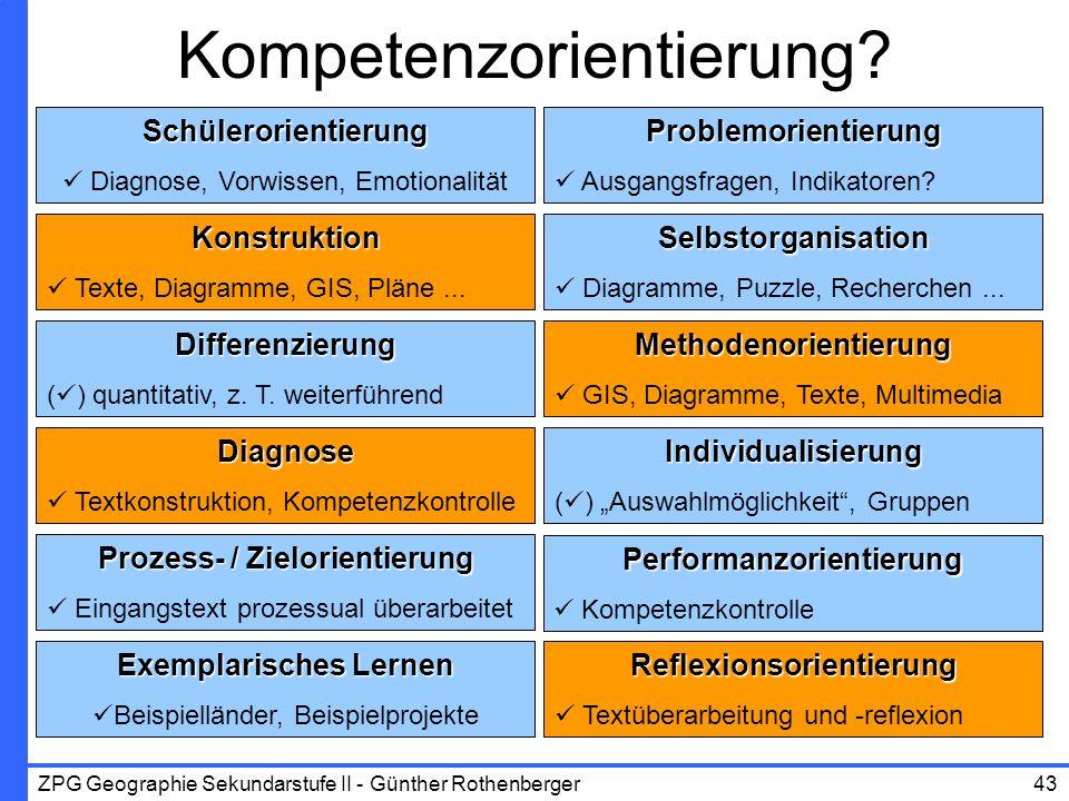 ZPG Geographie Sekundarstufe II - Günther Rothenberger43 Kompetenzorientierung?Schülerorientierung Diagnose, Vorwissen, EmotionalitätProblemorientieru