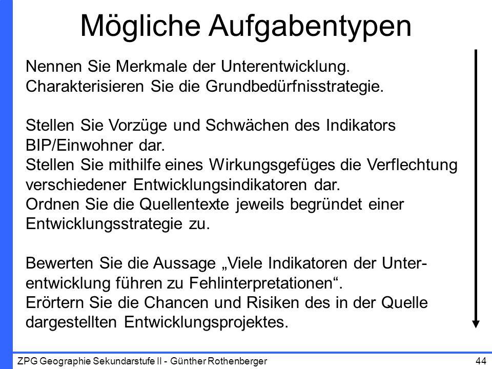 ZPG Geographie Sekundarstufe II - Günther Rothenberger44 Mögliche Aufgabentypen Nennen Sie Merkmale der Unterentwicklung. Charakterisieren Sie die Gru