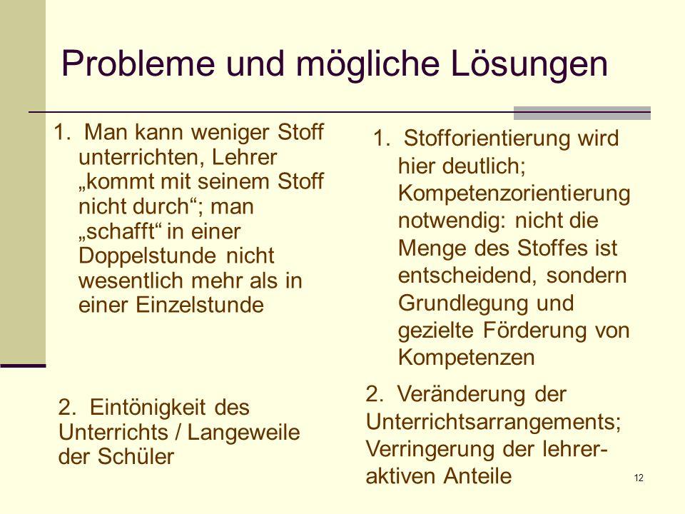 12 Probleme und mögliche Lösungen 1. Man kann weniger Stoff unterrichten, Lehrer kommt mit seinem Stoff nicht durch; man schafft in einer Doppelstunde
