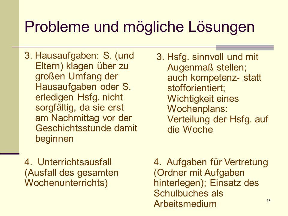 13 Probleme und mögliche Lösungen 3. Hausaufgaben: S. (und Eltern) klagen über zu großen Umfang der Hausaufgaben oder S. erledigen Hsfg. nicht sorgfäl