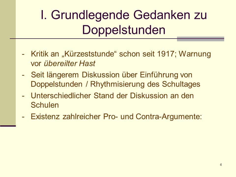 4 I. Grundlegende Gedanken zu Doppelstunden - Kritik an Kürzeststunde schon seit 1917; Warnung vor übereilter Hast - Seit längerem Diskussion über Ein