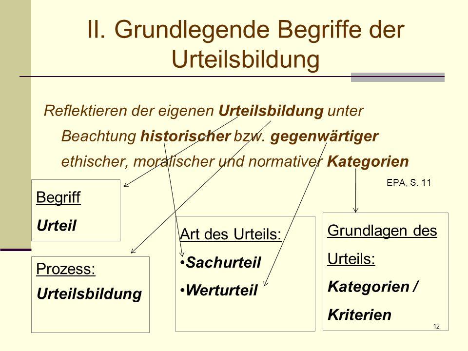 12 II. Grundlegende Begriffe der Urteilsbildung Reflektieren der eigenen Urteilsbildung unter Beachtung historischer bzw. gegenwärtiger ethischer, mor