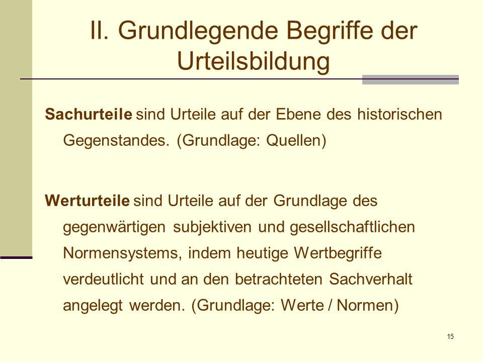 15 II. Grundlegende Begriffe der Urteilsbildung Sachurteile sind Urteile auf der Ebene des historischen Gegenstandes. (Grundlage: Quellen) Werturteile
