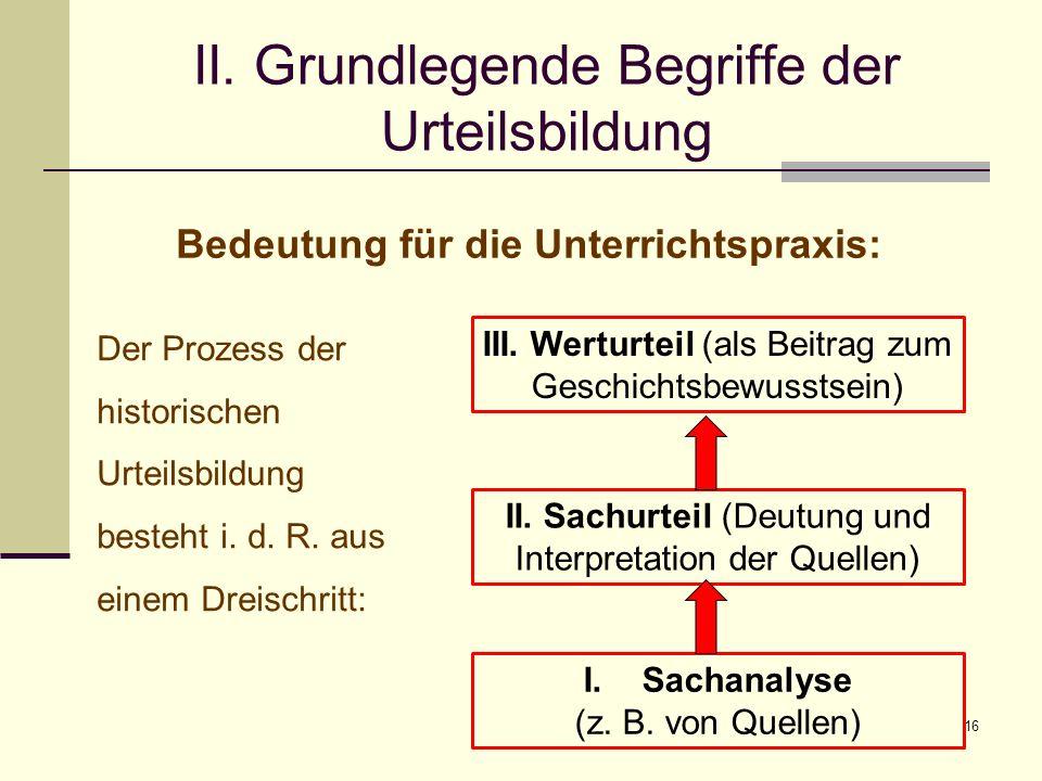 16 II. Grundlegende Begriffe der Urteilsbildung Bedeutung für die Unterrichtspraxis: Der Prozess der historischen Urteilsbildung besteht i. d. R. aus