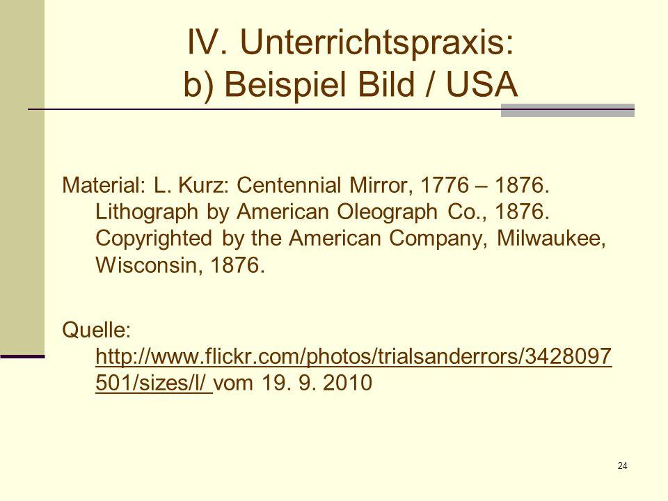 24 IV. Unterrichtspraxis: b) Beispiel Bild / USA Material: L. Kurz: Centennial Mirror, 1776 – 1876. Lithograph by American Oleograph Co., 1876. Copyri